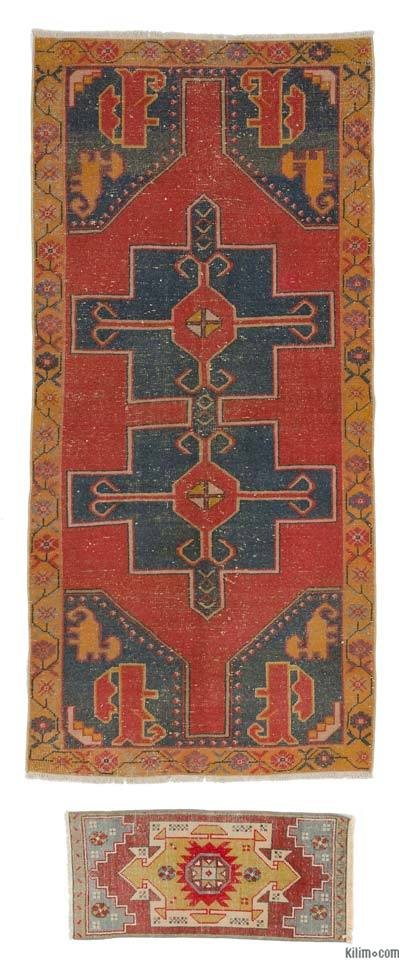 "Turkish Vintage Area Rug - 3' 11"" x 8' 5"" (47 in. x 101 in.)"