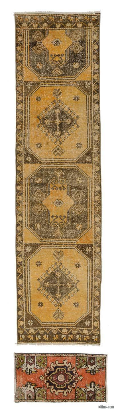 El Dokuma Vintage Halı - 85 cm x 330 cm