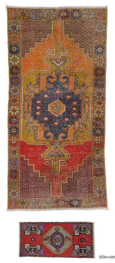 """Turkish Vintage Area Rug - 4' 2"""" x 8' 5"""" (50 in. x 101 in.)"""