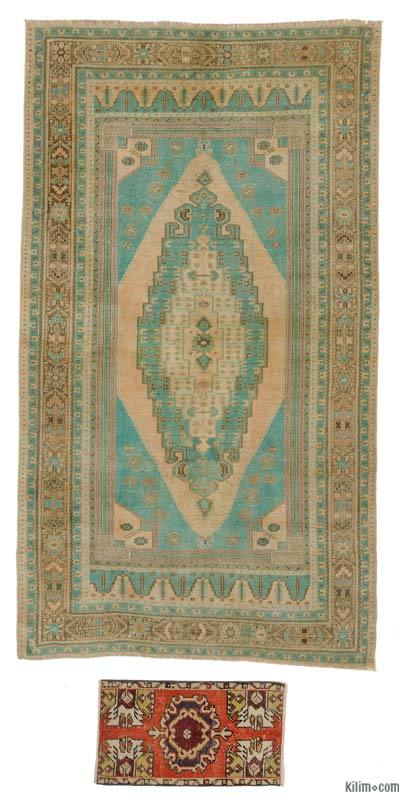 """Vintage Turkish Hand-Knotted Rug - 5' 1"""" x 9'  (61 in. x 108 in.)"""