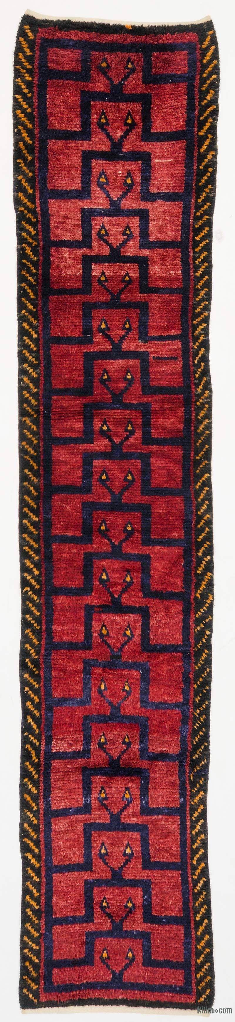 "Red Vintage Turkish Runner Rug - 2' 8"" x 12' 6"" (32 in. x 150 in.) - K0036937"