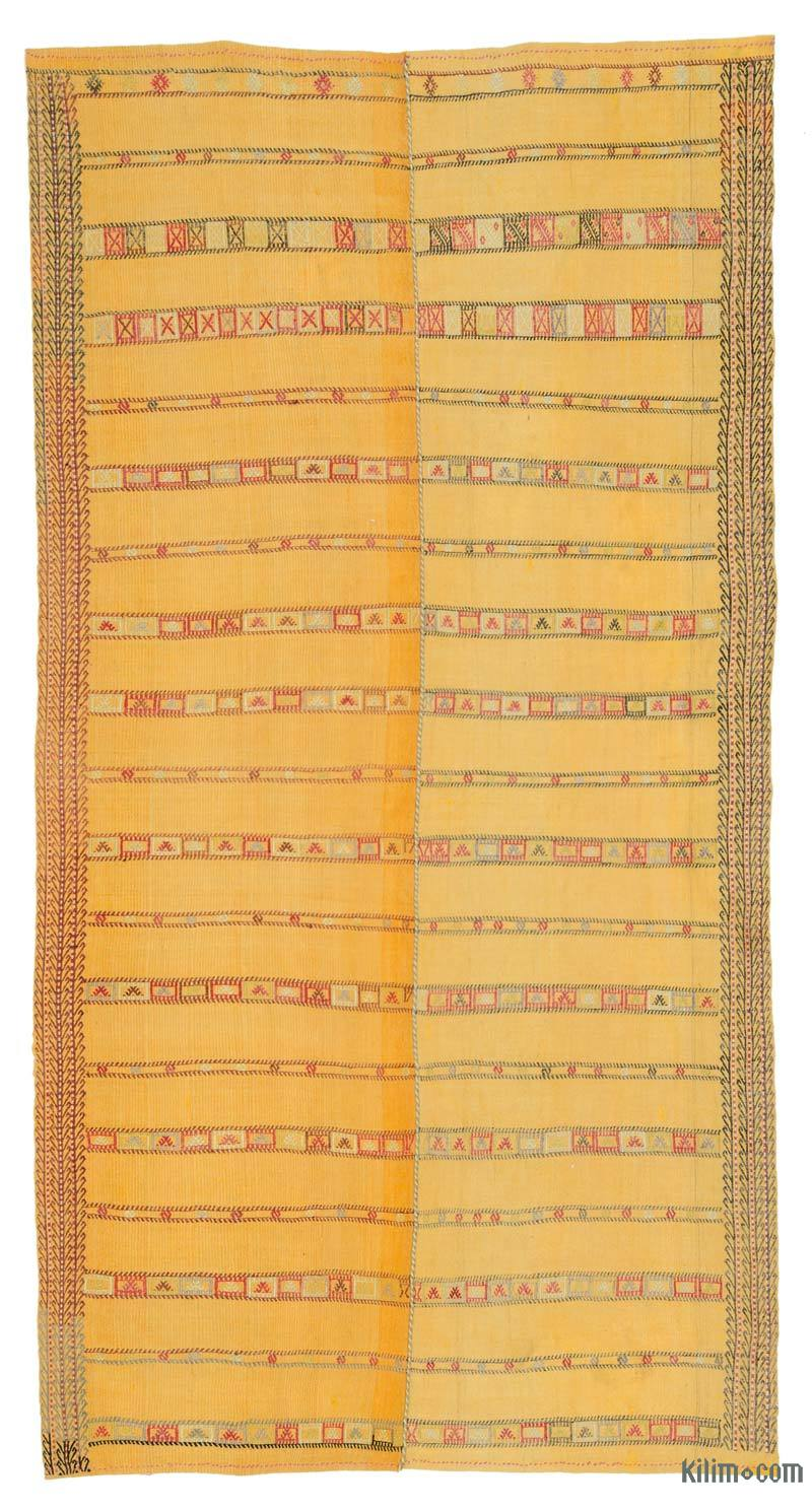 """Yellow Vintage Eskisehir Kilim Rug - 5' 3"""" x 10'  (63 in. x 120 in.) - K0036955"""