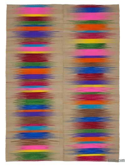 """Multicolor Neo Caspian Kilim Rug - 6' 8"""" x 9' 5"""" (80 in. x 113 in.)"""