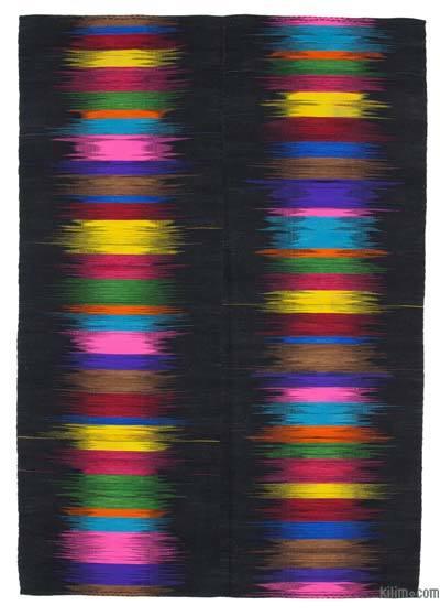 """Black, Multicolor Neo Caspian Kilim Rug - 6' 8"""" x 9' 7"""" (80 in. x 115 in.)"""
