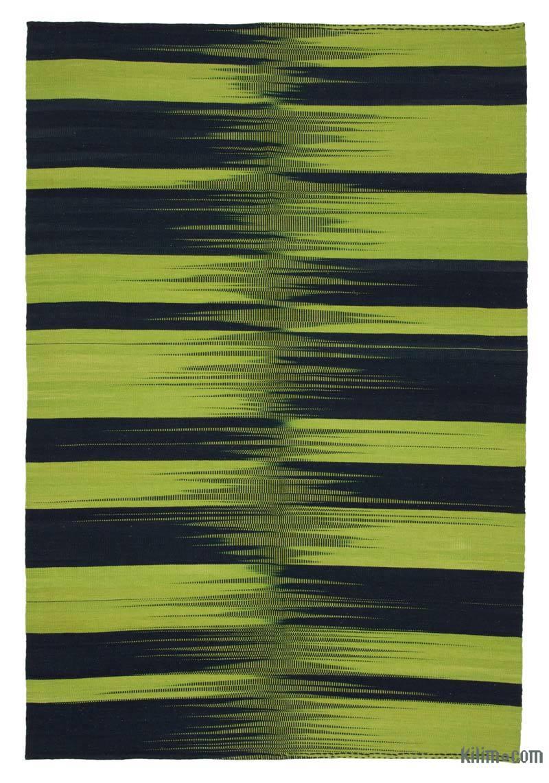"""Green, Black Neo Caspian Kilim Rug - 5' 11"""" x 8' 8"""" (71 in. x 104 in.) - K0037020"""