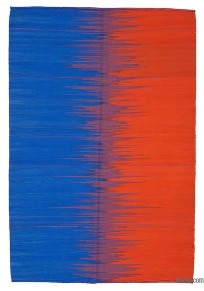 "Blue, Orange Neo Caspian Kilim Rug - 5' 10"" x 8' 8"" (70 in. x 104 in.)"