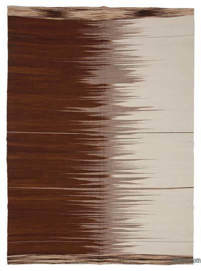 "Brown, Beige Neo Caspian Kilim Rug - 5' 11"" x 8' 2"" (71 in. x 98 in.)"