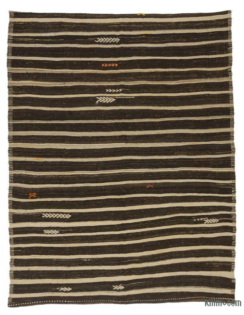 """Brown Vintage Anatolian Kilim Rug - 6' 10"""" x 8' 11"""" (82 in. x 107 in.) - K0037167"""