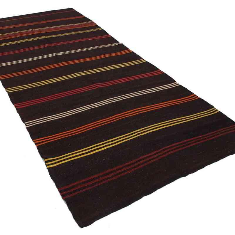 """Brown Vintage Anatolian Kilim Rug - 5'  x 11' 11"""" (60 in. x 143 in.) - K0037182"""