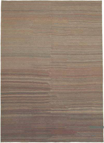 "Brown New Contemporary Kilim Rug - Z Collection - 7' 3"" x 9' 9"" (87 in. x 117 in.)"