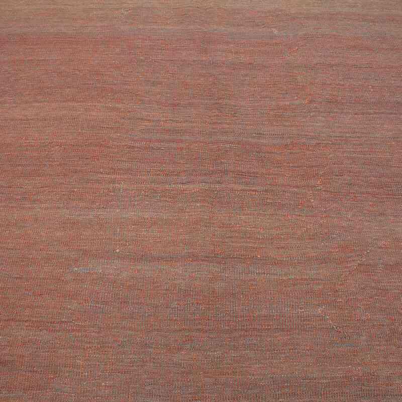 "Orange, Blue New Contemporary Kilim Rug - Z Collection - 5' 10"" x 7' 9"" (70 in. x 93 in.) - K0037732"