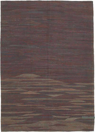 "Red, Blue New Contemporary Kilim Rug - Z Collection - 6' 9"" x 9' 7"" (81 in. x 115 in.)"