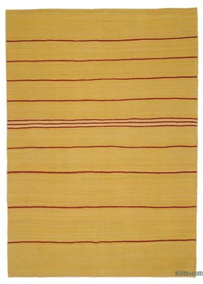 "Yellow New Contemporary Kilim Rug - Z Collection - 5' 7"" x 7' 11"" (67 in. x 95 in.)"