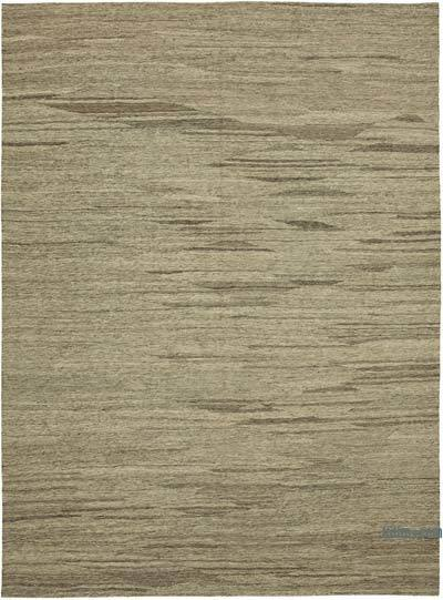 "Beige, Brown New Contemporary Kilim Rug - Z Collection - 8' 8"" x 11' 9"" (104 in. x 141 in.)"