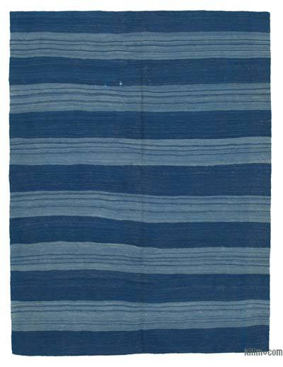 "Blue New Contemporary Kilim Rug - Z Collection - 6'  x 7' 10"" (72 in. x 94 in.)"