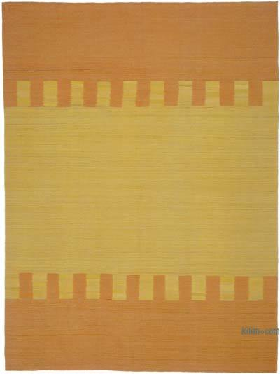 "Orange, Yellow New Contemporary Kilim Rug - Z Collection - 7' 1"" x 9' 5"" (85 in. x 113 in.)"