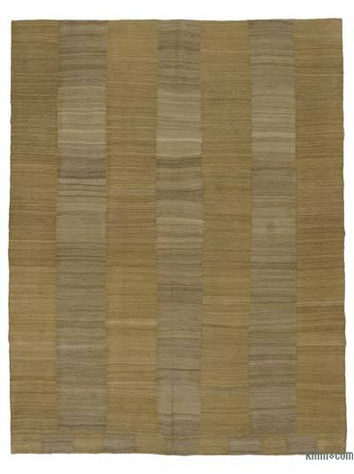 "Brown New Contemporary Kilim Rug - Z Collection - 7' 1"" x 9' 1"" (85 in. x 109 in.)"