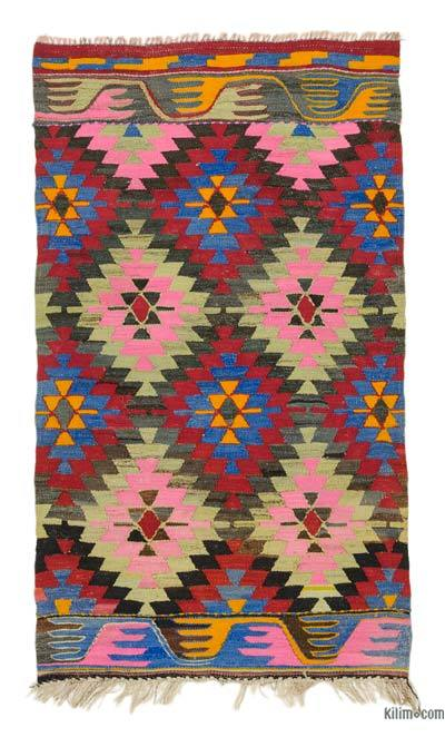 "Vintage Turkish Kilim Rug - 3' 1"" x 5'  (37 in. x 60 in.)"