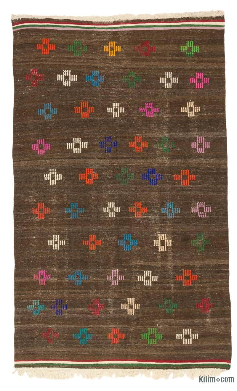 """Brown Vintage Turkish Kilim Rug - 5' 9"""" x 9' 2"""" (69 in. x 110 in.) - K0037839"""