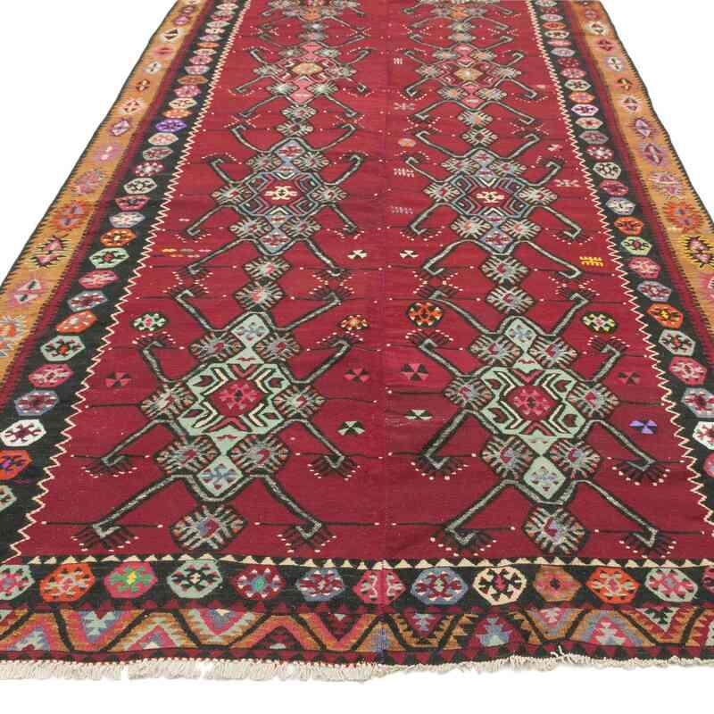 Red Vintage Sarkisla Kilim Rug - 6' 7# x 15' 1# (79 in. x 181 in.) - K0037883