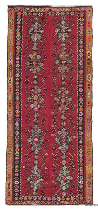 "Red Vintage Sarkisla Kilim Rug - 6' 7"" x 15' 1"" (79 in. x 181 in.)"