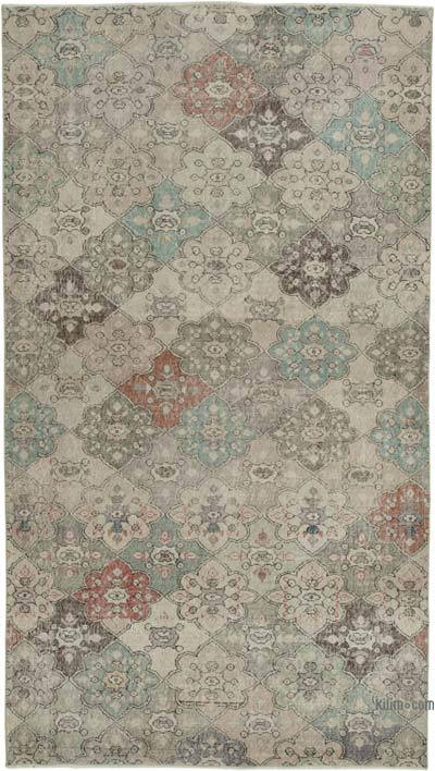 """Retro Vintage Turkish Hand-Knotted Rug - 5' 5"""" x 9' 6"""" (65 in. x 114 in.)"""
