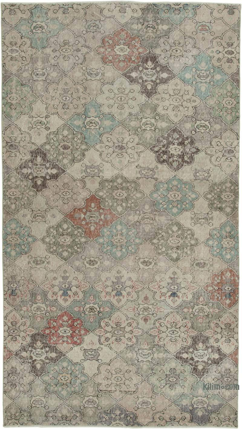 """Retro Vintage Turkish Hand-Knotted Rug - 5' 5"""" x 9' 6"""" (65 in. x 114 in.) - K0038066"""
