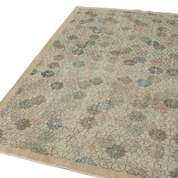 """Retro Vintage Turkish Hand-Knotted Rug - 5'  x 8' 7"""" (60 in. x 103 in.) - K0038069"""
