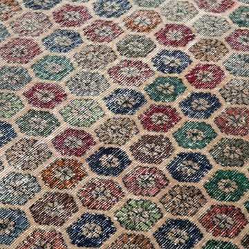 """Retro Vintage Turkish Hand-Knotted Rug - 6' 7"""" x 9' 2"""" (79 in. x 110 in.) - K0038088"""