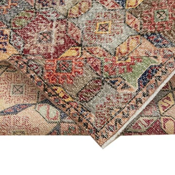 """Retro Vintage Turkish Hand-Knotted Rug - 5' 7"""" x 10'  (67 in. x 120 in.) - K0038100"""