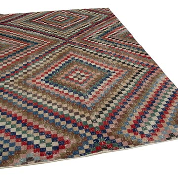 """Vintage Turkish Hand-Knotted Rug - 5' 10"""" x 9' 6"""" (70 in. x 114 in.) - K0038101"""