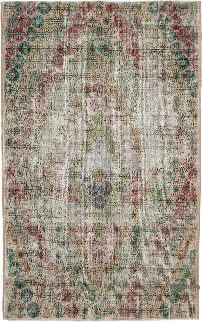 """Retro Vintage Turkish Hand-Knotted Rug - 5' 5"""" x 8' 9"""" (65 in. x 105 in.) - K0038113"""
