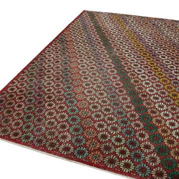 """Retro Vintage Turkish Hand-Knotted Rug - 5' 11"""" x 9' 11"""" (71 in. x 119 in.) - K0038131"""