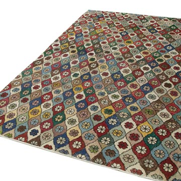 """Retro Vintage Turkish Hand-Knotted Rug - 6'  x 9' 7"""" (72 in. x 115 in.) - K0038132"""