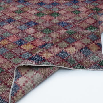 """Multicolor Vintage Turkish Hand-Knotted Rug - 5' 2"""" x 9' 5"""" (62 in. x 113 in.) - K0038142"""