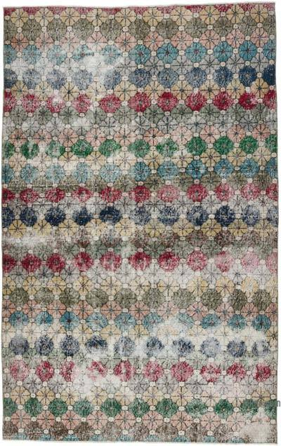 """Retro Vintage Turkish Hand-Knotted Rug - 5' 3"""" x 8' 6"""" (63 in. x 102 in.)"""