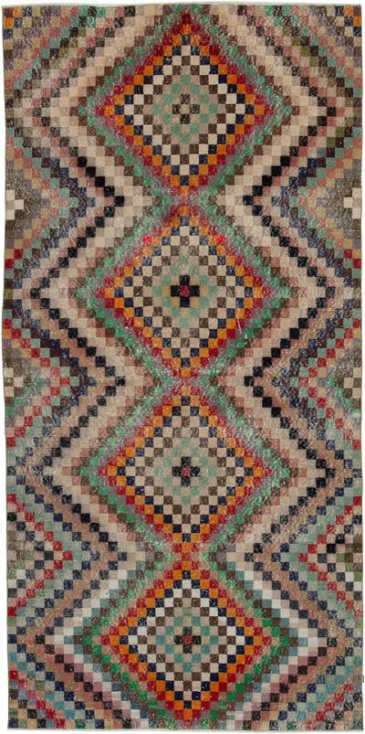"""Retro Vintage Turkish Hand-Knotted Rug - 4' 10"""" x 9' 11"""" (58 in. x 119 in.)"""