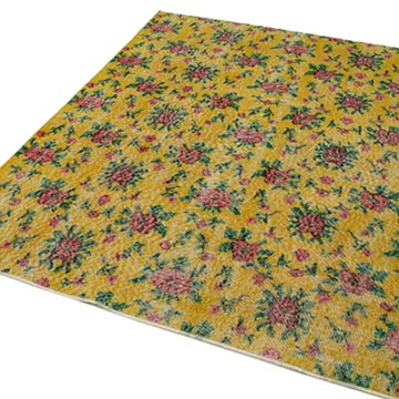 """Retro Vintage Turkish Hand-Knotted Rug - 5' 6"""" x 6' 8"""" (66 in. x 80 in.) - K0038151"""
