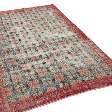 """Retro Vintage Turkish Hand-Knotted Rug - 5'  x 7' 10"""" (60 in. x 94 in.) - K0038168"""