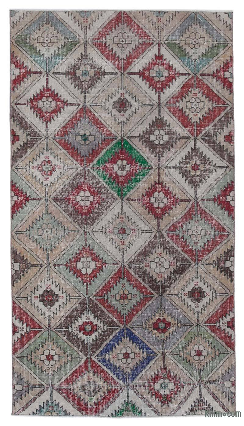 """Retro Vintage Turkish Hand-Knotted Rug - 3' 10"""" x 7'  (46 in. x 84 in.) - K0038225"""