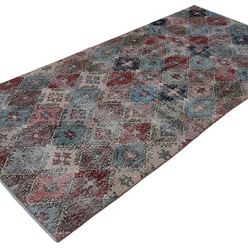 """Retro Vintage Turkish Hand-Knotted Rug - 3' 11"""" x 8' 2"""" (47 in. x 98 in.) - K0038235"""