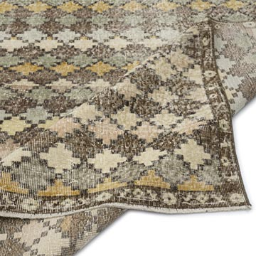 """Retro Vintage Turkish Hand-Knotted Rug - 5' 1"""" x 9' 10"""" (61 in. x 118 in.) - K0038238"""