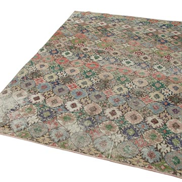 """Retro Vintage Turkish Hand-Knotted Rug - 5' 11"""" x 9' 5"""" (71 in. x 113 in.) - K0038244"""