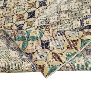 """Retro Vintage Turkish Hand-Knotted Rug - 5' 5"""" x 9' 4"""" (65 in. x 112 in.) - K0038279"""