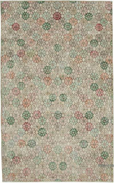 """Retro Vintage Turkish Hand-Knotted Rug - 5' 4"""" x 8' 6"""" (64 in. x 102 in.)"""