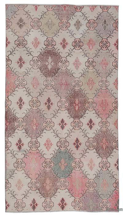 """Retro Vintage Turkish Hand-Knotted Rug - 4' 1"""" x 7' 5"""" (49 in. x 89 in.)"""