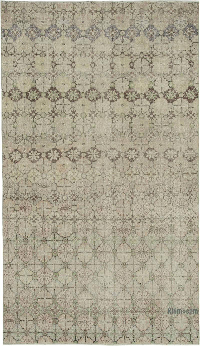 """Retro Vintage Turkish Hand-Knotted Rug - 5' 4"""" x 9' 5"""" (64 in. x 113 in.) - K0038299"""