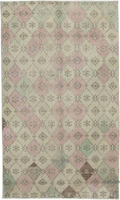 """Retro Vintage Turkish Hand-Knotted Rug - 5'  x 8' 6"""" (60 in. x 102 in.)"""