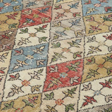 """Retro Vintage Turkish Hand-Knotted Rug - 6'  x 8' 10"""" (72 in. x 106 in.) - K0038348"""