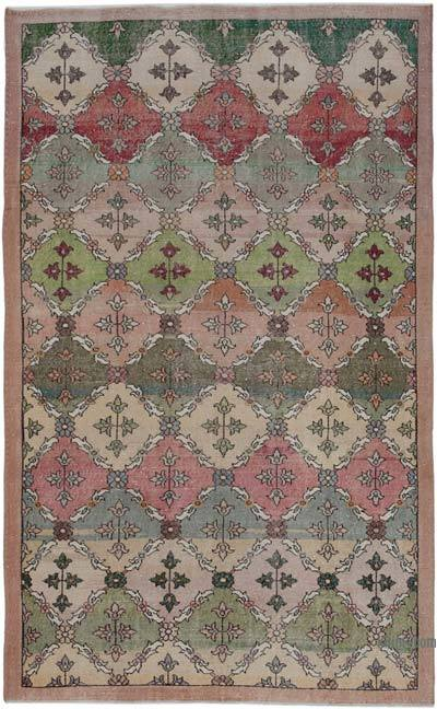 """Retro Vintage Turkish Hand-Knotted Rug - 6' 5"""" x 10' 4"""" (77 in. x 124 in.)"""